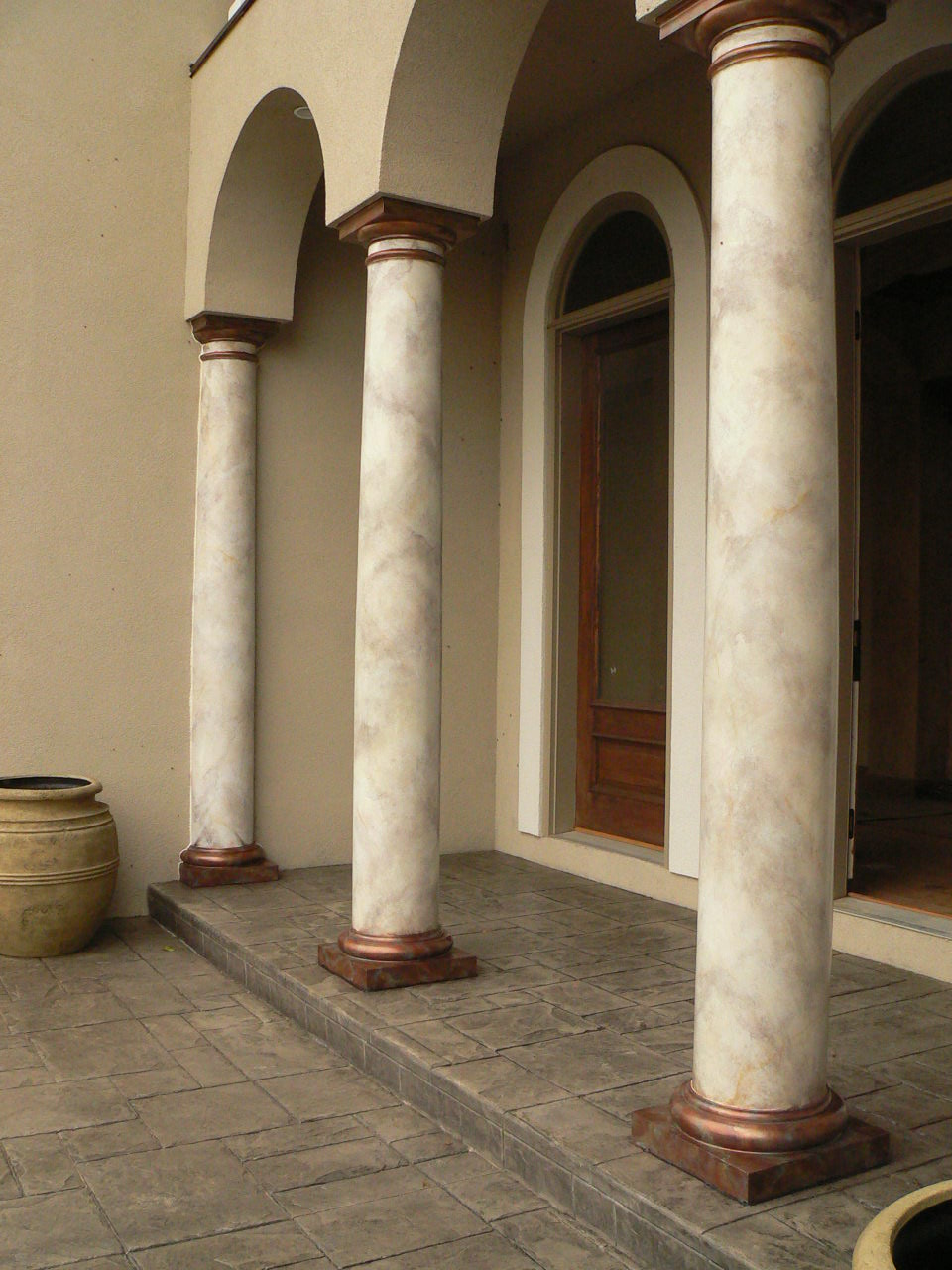 Painted Stone Pillars : Columns and marble