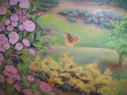 close up of butter fly and roses in mural