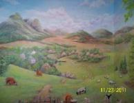 center view of scottish highlands mural
